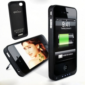 QYG-Power F8 Portable Battery Power Case Charger with Bracket for iPhone 4 4G - Black