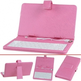 High Quality USB Keyboard and Protective Leather Case for 7 inch Tablet PC - Pink