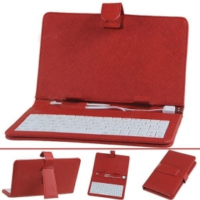 High Quality USB Keyboard and Protective Leather Case for 7 inch Tablet PC - Red