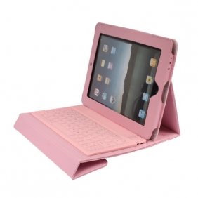 Protective Leather Case with Built-in Wireless Bluetooth Querty Keyboard For iPad 2 - Pink