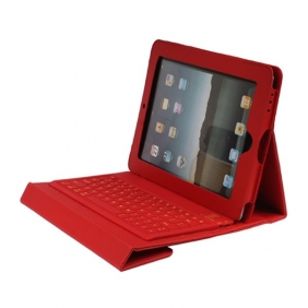 Protective Leather Case with Built-in Wireless Bluetooth Querty Keyboard For iPad 2 - Red