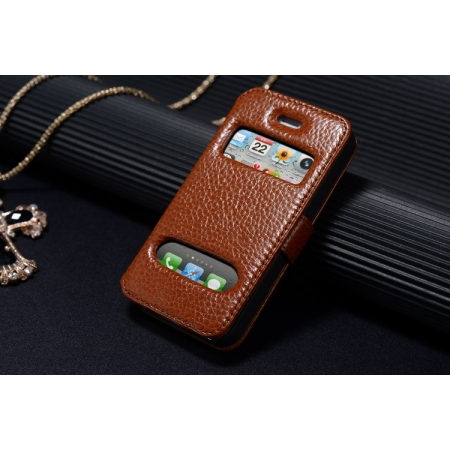 K-Cool Luxury Real Genuine Leather Case for IPhone 4S,Leather S View Cover Case for IPhone 4 - Brown