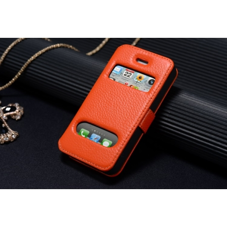 K-Cool Luxury Real Genuine Leather Case for IPhone 4S,Leather S View Cover Case for IPhone 4 - Orange