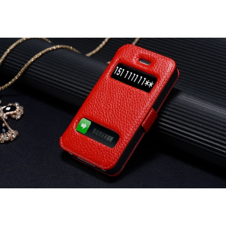 K-Cool Luxury Real Genuine Leather Case for IPhone 4S,Leather S View Cover Case for IPhone 4 - Red