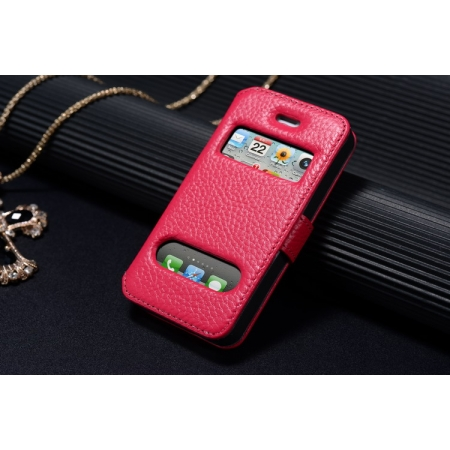 K-Cool Luxury Real Genuine Leather Case for IPhone 4S,Leather S View Cover Case for IPhone 4 - Rose