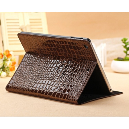 Luxury Crocodile Pattern Flip Leather Stand Case for iPad Air - Brown