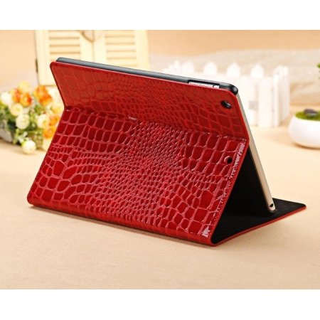 Luxury Crocodile Pattern Flip Leather Stand Case for iPad Air - Red