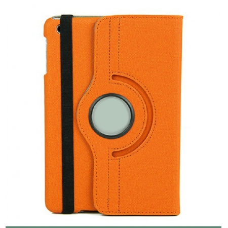 360 Degree Rotary Flip Stand Leather Case for iPad Mini 2 With Reina display - Orange