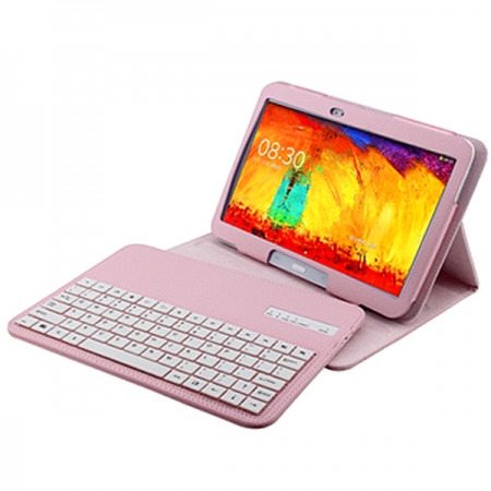 Wireless Bluetooth Keyboard Stand Case for Samsung Galaxy Note 10.1 2014 Edition P600 - Pink