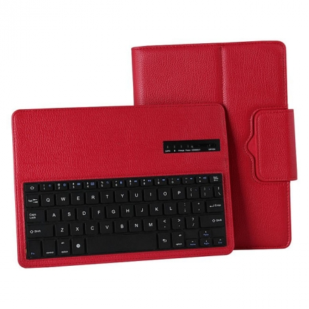 Wireless Bluetooth Keyboard Stand Case for Samsung Galaxy Note 10.1 2014 Edition P600 - Red