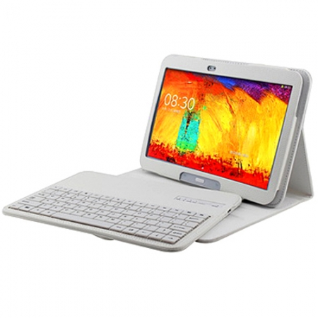 Wireless Bluetooth Keyboard Stand Case for Samsung Galaxy Note 10.1 2014 Edition P600 - White