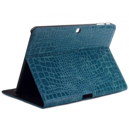 Crocodile Pattern PU Leather Smart Stand Case for Samsung Galaxy Tab 4 10.1 T530 - Blue