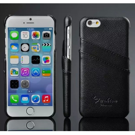 Black 100% Real Genuine Card Leather Hard Back Case Cover For Apple iPhone 6 Plus/6S Plus 5.5