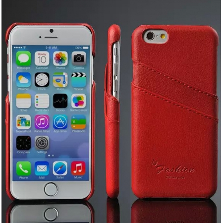 Red 100% Real Genuine Card Leather Hard Back Case Cover For Apple iPhone 6 Plus/6S Plus 5.5
