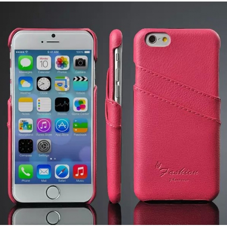 Rose 100% Real Genuine Card Leather Hard Back Case Cover For Apple iPhone 6 Plus/6S Plus 5.5