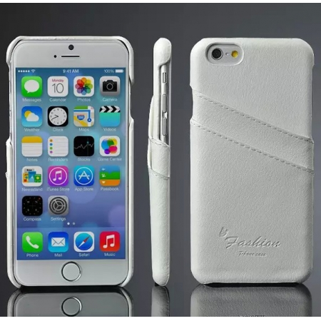 White 100% Real Genuine Card Leather Hard Back Case Cover For Apple iPhone 6 Plus/6S Plus 5.5