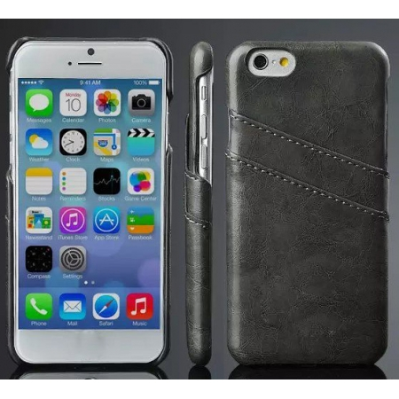 Black Luxury Oil Wax PU Leather Back Cover Card Holder Case For iPhone 6 Plus/6S Plus 5.5 Inch