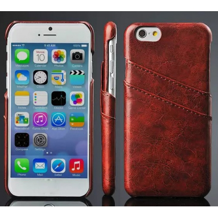 Brown Luxury Oil Wax PU Leather Back Cover Card Holder Case For iPhone 6 Plus/6S Plus 5.5 Inch