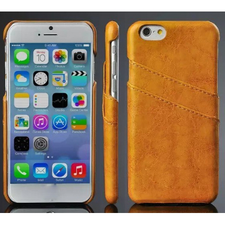 Orange Luxury Oil Wax PU Leather Back Cover Card Holder Case For iPhone 6 Plus/6S Plus 5.5 Inch