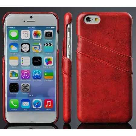 Red Luxury Oil Wax PU Leather Back Cover Card Holder Case For iPhone 6 Plus/6S Plus 5.5 Inch