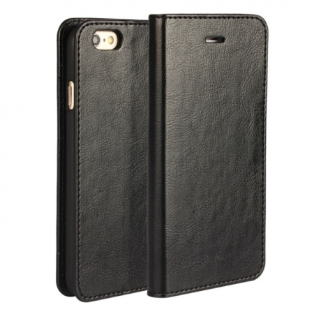 Black Crazy Horse Grain Wallet Genuine Leather Stand Case for iPhone 6 Plus/6S Plus 5.5 inch