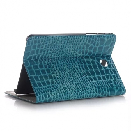 Blue Crocodile Pattern Two Folding Leather Wallet Case Cover for Samsung Galaxy Tab A 8.0 T350