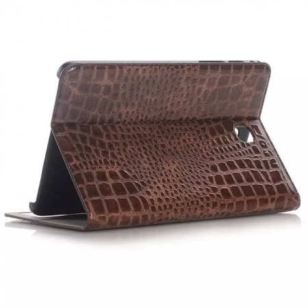 Brown Crocodile Pattern Two Folding Leather Wallet Case Cover for Samsung Galaxy Tab A 8.0 T350