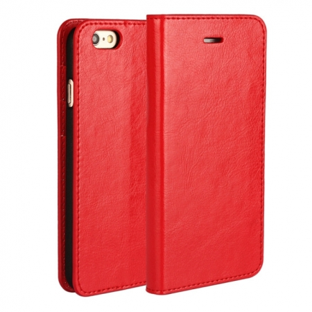Red Crazy Horse Grain Wallet Genuine Leather Stand Case for iPhone 6 Plus/6S Plus 5.5 inch