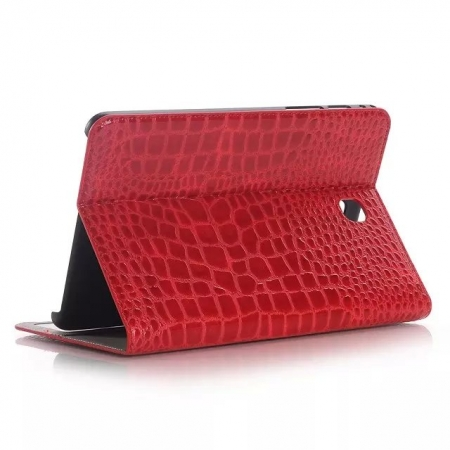 Red Crocodile Pattern Two Folding Leather Wallet Case Cover for Samsung Galaxy Tab A 8.0 T350