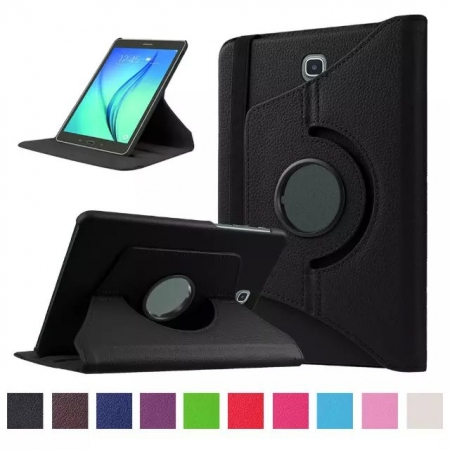 Black 360 Rotating Leather Stand Case Cover for Samsung Galaxy Tab S2 9.7 T815