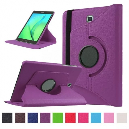 Purple 360 Rotating Leather Stand Case Cover for Samsung Galaxy Tab S2 9.7 T815