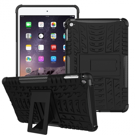 Black 2 In 1 Pattern Shockproof Silicone and PC Hybrid Case for iPad Mini 4