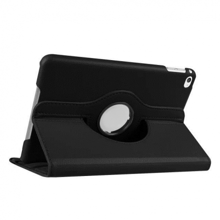 Black 360 Degrees Rotating Stand PU Leather Smart Case Cover for Apple iPad mini 4