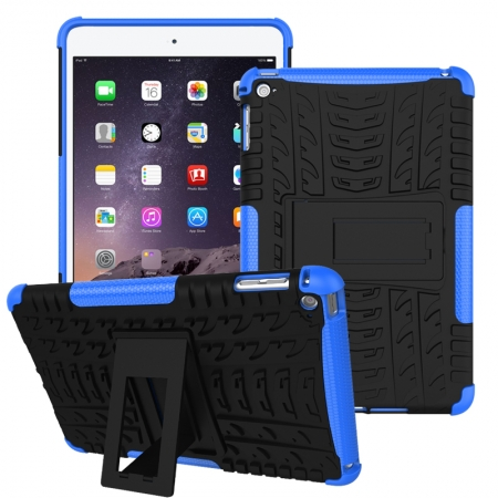 Blue 2 In 1 Pattern Shockproof Silicone and PC Hybrid Case for iPad Mini 4