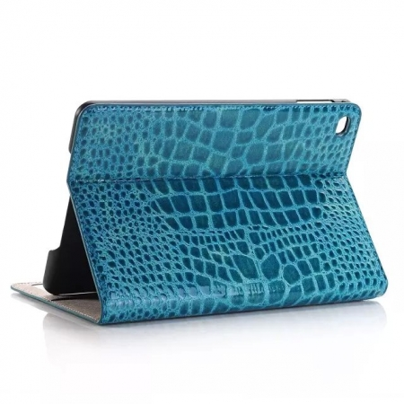 Blue New Crocodile Wallet Leather Case Cover with Stand For Apple iPad mini 4