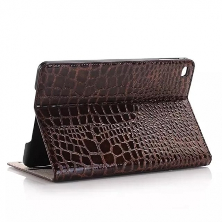 Brown New Crocodile Wallet Leather Case Cover with Stand For Apple iPad mini 4
