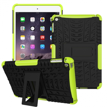Green 2 In 1 Pattern Shockproof Silicone and PC Hybrid Case for iPad Mini 4