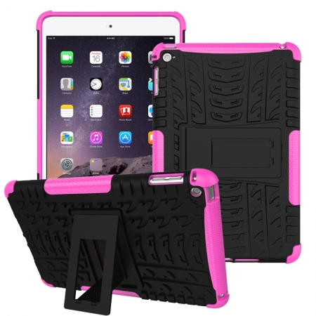 Hot pink 2 In 1 Pattern Shockproof Silicone and PC Hybrid Case for iPad Mini 4