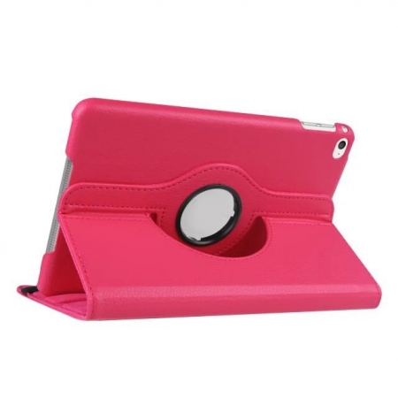 Hot pink 360 Degrees Rotating Stand PU Leather Smart Case Cover for Apple iPad mini 4