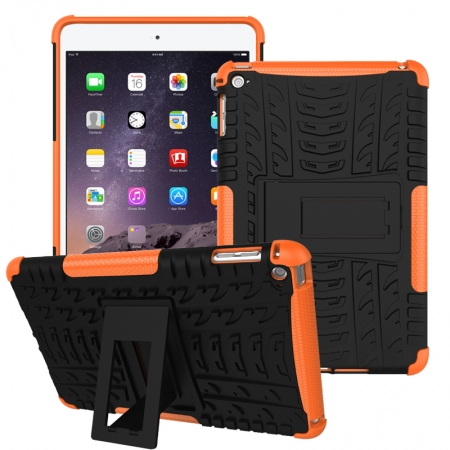 Orange 2 In 1 Pattern Shockproof Silicone and PC Hybrid Case for iPad Mini 4