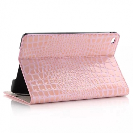 Pink New Crocodile Wallet Leather Case Cover with Stand For Apple iPad mini 4