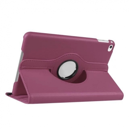Purple 360 Degrees Rotating Stand PU Leather Smart Case Cover for Apple iPad mini 4