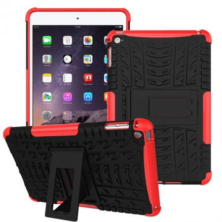 Red 2 In 1 Pattern Shockproof Silicone and PC Hybrid Case for iPad Mini 4