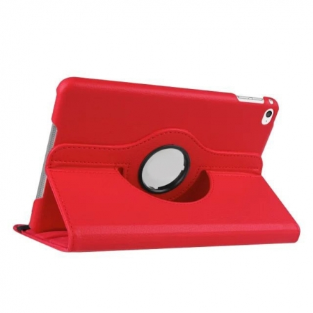 Red 360 Degrees Rotating Stand PU Leather Smart Case Cover for Apple iPad mini 4