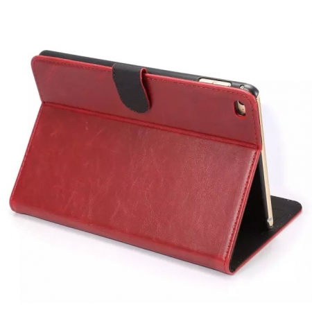 Red Crazy Horse Wallet Style Magnetic Flip Stand PC+ PU Leather Case For iPad mini 4