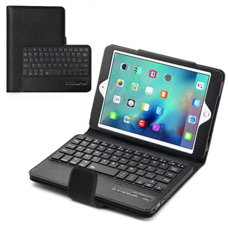 Black Folding PU Leather Case for Apple iPad Mini 4 with Wireless Bluetooth Keyboard