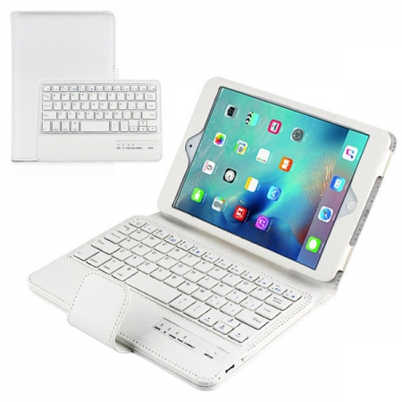 White Folding PU Leather Case for Apple iPad Mini 4 with Wireless Bluetooth Keyboard