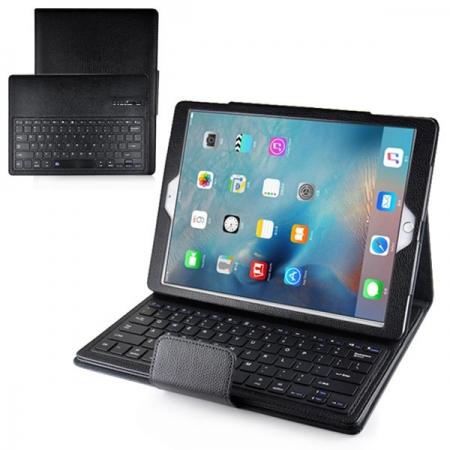 Black Detachable Wireless Bluetooth Keyboard Litchi Pu Leather Folio Case for iPad Pro 12.9inch