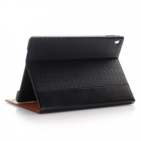 Black Luxury Crocodile Grain Leather Stand Case Cover for Apple iPad Pro 9.7 Inch