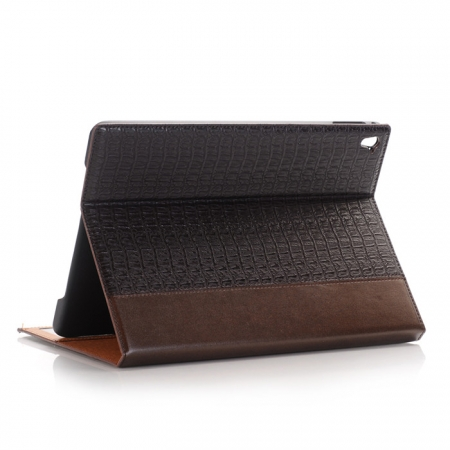 Brown Luxury Crocodile Grain Leather Stand Case Cover for Apple iPad Pro 9.7 Inch